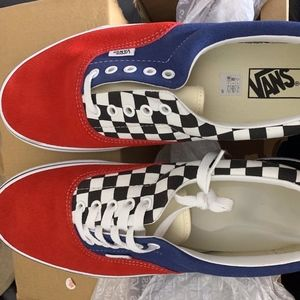 VANS Checkerboard Navy Red Shoes